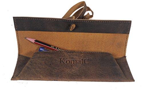 Vintage Leather Rollup Pencil Case  Pouch Cover - Pen Pencil Case Pouch