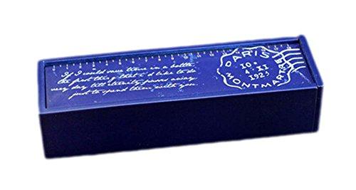 2Pcs Wooden Pencil Cases Pen Boxes Pencil Pouches Storage Box Blue Bottom