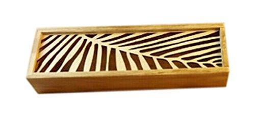 2Pcs Wooden Pencil Cases Pen Boxes Pencil Pouches Storage Box Leaf
