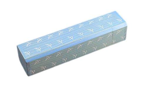 2Pcs Wooden Pencil Cases Pen Boxes Pencil Pouches Storage Box Leaves Blue