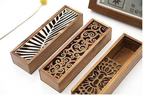Vintage Hollow Wooden Pencil Box Pen Case High Grade Gift Office School Stationery