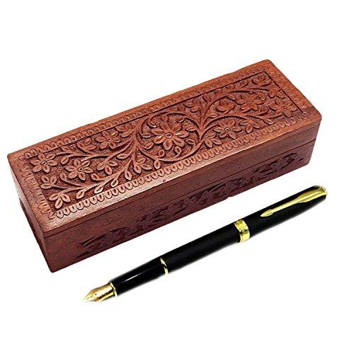 Wooden Pencil Box Flower design Carving Work Pen Box Pencil Holder Pen Holder 8 inch Storage Box