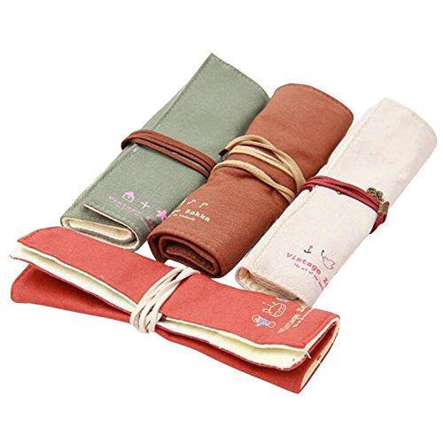 Bonaweite Pastoral Bandage Canvas Pencil Case Box Cosmatic Bag Set of 4 Solid