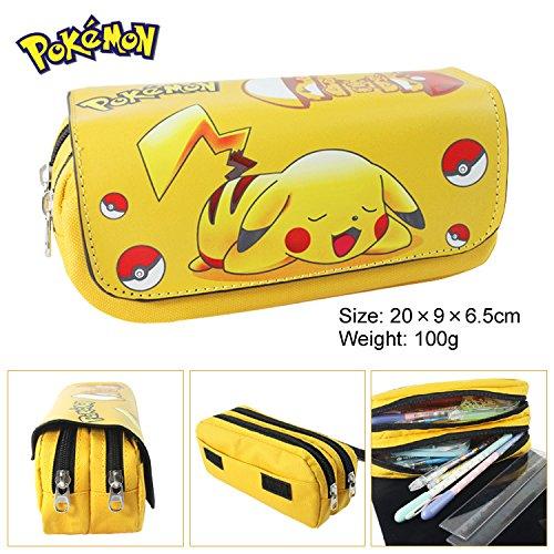 Dengguoli Pokemon Pikachu Pencil Case Box Holder Bag with Zipper Pikachu