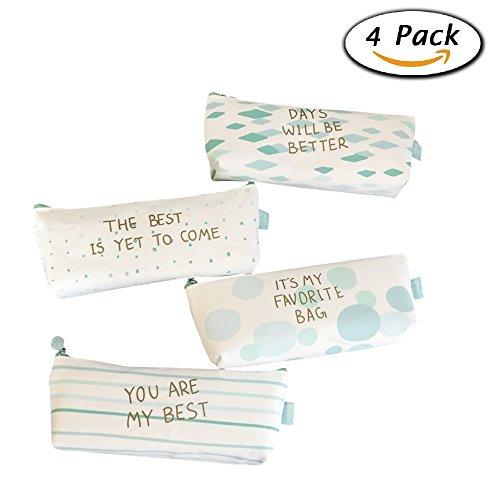 ONEST 4 Packs Pencil Case New Style Pastoral Bandage Canvas Pencil Case Box Makeup Bag
