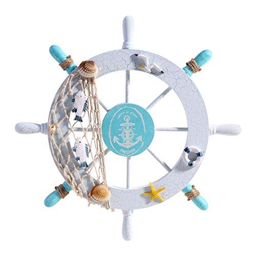 Yunchuang Nautical Beach Wooden Boat Ship Steering Wheel Fishing Net Shell Home Wall Christmas Decoration - Swim ring