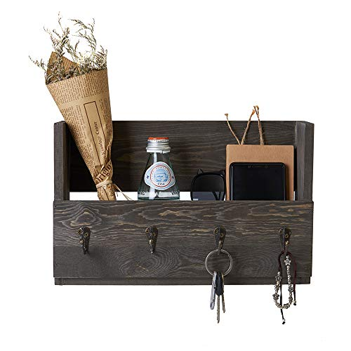 Distressed Rustic Gray Pine Wood Wall Mounted Mail Holder Organizer with 4 Key Hooks Rack Hanger Letter and Key Holder Organizer for Entryway Kitchen Hallway Foyer-Wall Mount