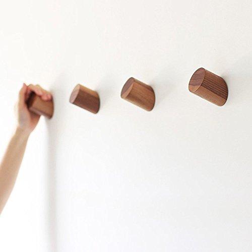 Natural Wooden Coat Hooks Wall Mounted Vintage Single Organizer Hangers Handmade Craft Hat Rack Black Walnut pack of 2