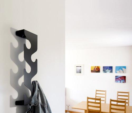 Wave Coat Rack with Coat Hooks - Wall Mounted Coat Hanger Black