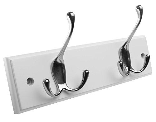 Hookiom 629W Tri Wall Mounted Coat hooks RackHat Hook Rail White Finish and Satin Nickel Hooks