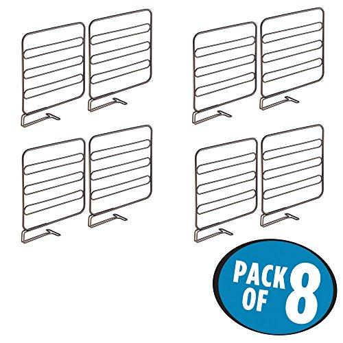 mDesign Wire Shelf Divider Closet Organizer for Clothing Storage - Pack of 8 Bronze