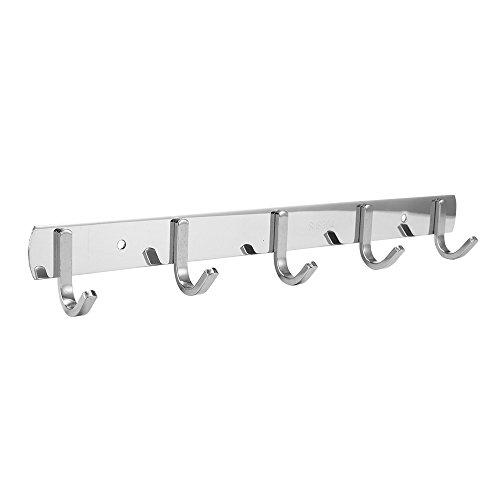 Efaithtek Wall Mounted Coat Hook Rail 143-Inch SUS304 Stainless Steel Coat Bath Towel Hook Hanger with 5 Hooks,Mirror finish