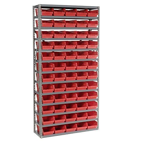 13 Shelf Steel Shelving With 60 4H Plastic Shelf Bins Red 36x12x72