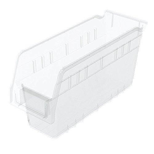 Akro-Mils 30040SCLAR Nesting Plastic Shelf Bin 16 Pack 11-58 x 4-18 x 6 Clear