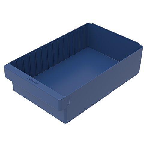 Akro-Mils 31118BLU AkroDrawer Plastic Shelf Bin 4 Pack 17-58 x 11-18 x 4-58 Blue