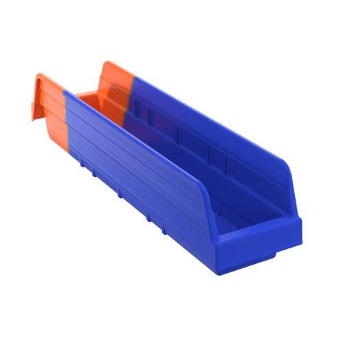 Akro-Mils 36448 Indicator Inventory Control Double Hopper Plastic Shelf Bin BlueOrange Case of 12
