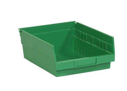 Aviditi BINPS104G Plastic Shelf Bin Boxes 11 58 x 8 38 x 4 Green Pack of 20