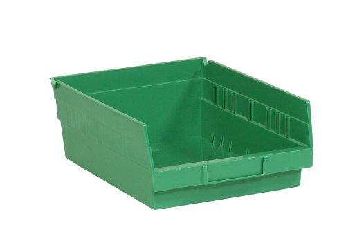Aviditi BINPS105G Plastic Shelf Bin Boxes 11 58 x 11 18 x 4 Green Pack of 8