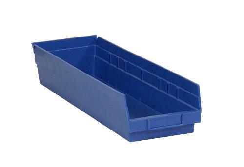 Aviditi BINPS122B Plastic Shelf Bin Boxes 23 58 x 6 58 x 4 Blue Pack of 8