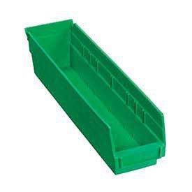 Plastic Shelf Bin Nestable 4-18W X 17-78D X 4H Green - Lot of 12