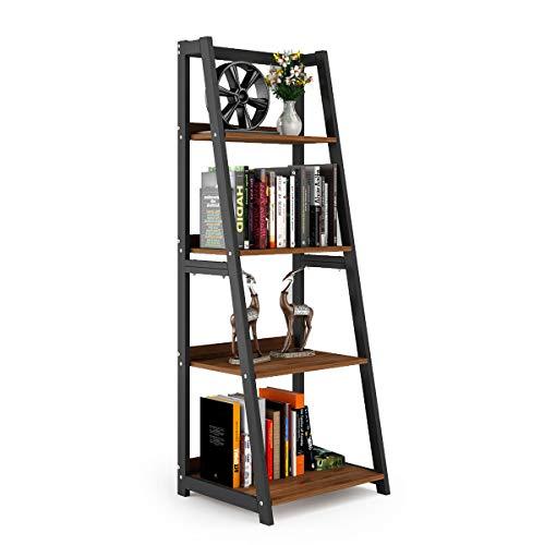 DEWEL Ladder Shelf 4 Tier Bookshelf Indoor Plant Stand Storage Shelves 55 Metal and Wood Bookcase Vintage Open Display Bookshelf for Office Home