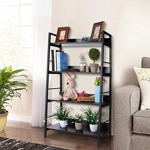 Himimi Industrial Ladder Shelf 4-Tier Bookshelf Storage Rack Shelves Bathroom Living Room Wood Look Particle Board Furniture Metal Frame Classic Black