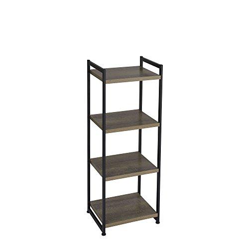 Household Essentials 4 Tier Storage Tower Shelf with Metal Grey Shelves - Black Frame Ashwood