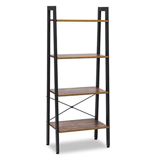 KINGSO Industrial Ladder Shelf 4-Tier Shelves Vintage Rustic Storage Rack Shelves Wood Look Accent Furniture Metal Frame for Living Room Study Lounge Bedroom Office