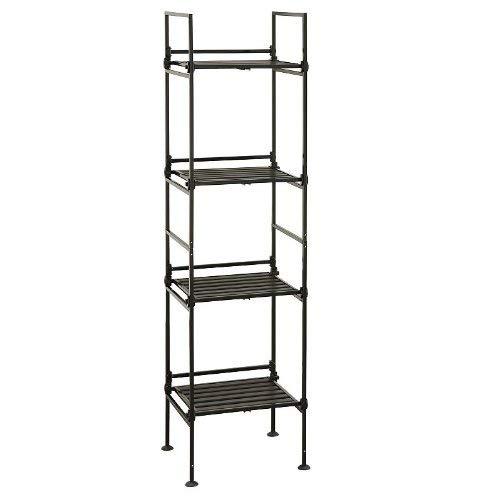 Neu Home Free Standing Storage Shelf 4-Tier Square Espresso