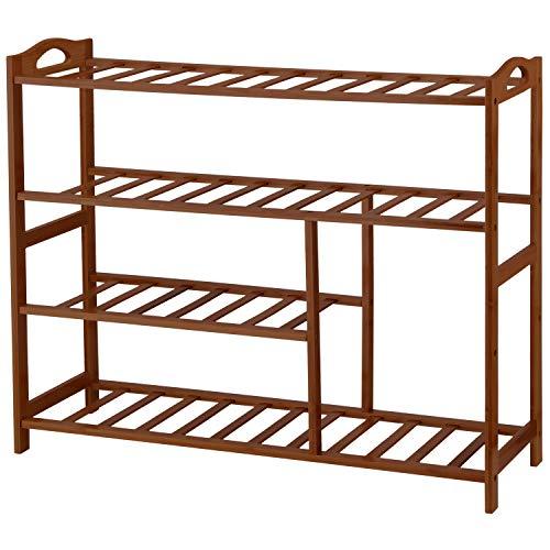 Ollieroo Bamboo 4-Tier Shoe Rack 10-13 Pairs Entryway Shoe Shelf Storage Organizer Brown
