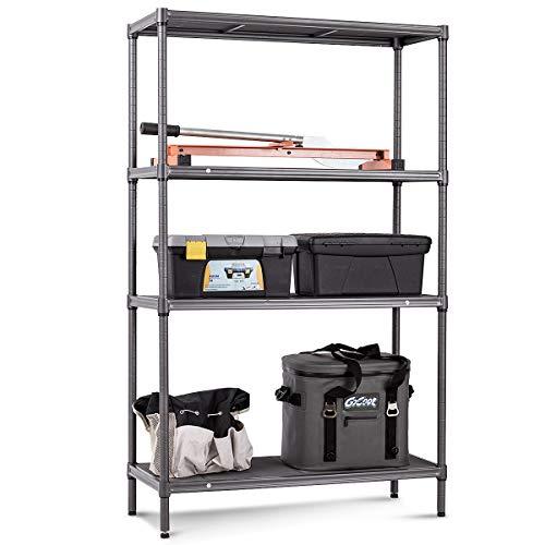 TANGKULA Storage Shelves 4-Tier Space-Saving Storage Rack Heavy Duty Metal Shelf Organizer High Weight Capacity Multi-Use Shelving Unit for Home Office Dormitory Garage 59 H
