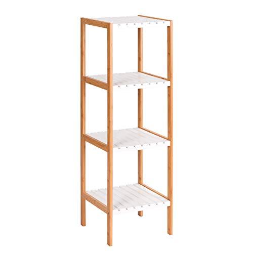 Tangkula Bamboo Bathroom Shelves 4 Tier Domestic Storage Free Standing Washroom Towel Tower Rack Units Display Shelf Bathroom Storage Organizer 13x135x43