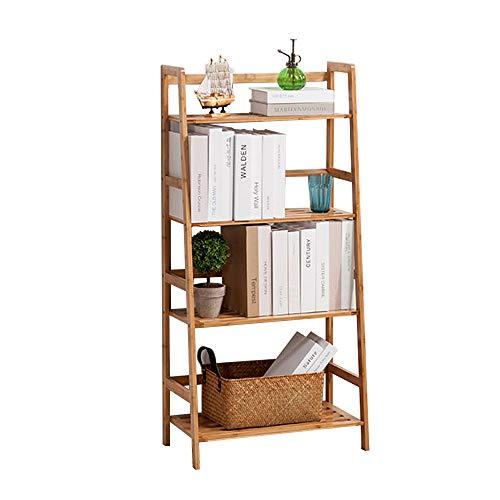 sogesfurniture Bamboo 4-Tier Multifunctional Storage Rack Stand Ladder Shelf Bookcase and Storage Rack 4-Tier Bookshelf Storage Rack Plants Stand Display Shelf BHUS-KS-HSJ-002