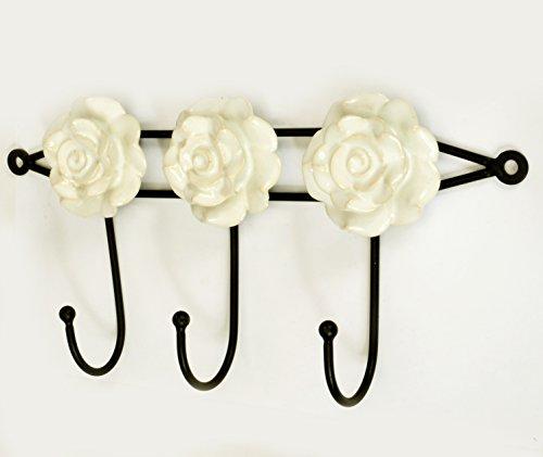 3 Hook 11Wd Metal Cermic Wall Door Coat Hangers Hooks Rose Flower Theme Heavy Duty 55Ht White