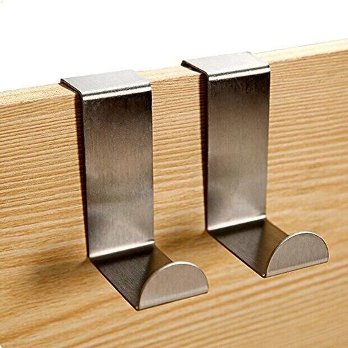 4Pcs Stainless Steel Over Door Hooks for Home Hat Coat Clothes Hanger Holder
