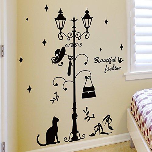 MiniWall Wall Paintings Sticker Bedroom Door Coat Hangers Continental Wall Decorations Streetlights Street Creative PersonalityCoat RackKing