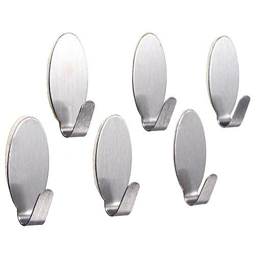 TOOGOOR 6x Stainless Steel Towel Adhesive Holder Kitchen Wall Door Coat Hanger Silver