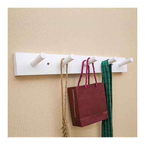 Jiyaru Wooden Coat Rail Rack Hook Wall Mounted Clothes Hanger Hat Holder White