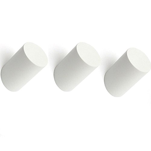AB Crew Minimalist Design Decorative Wall Mounted Wooden Coat Hook Hat Hanger 3PCS White Column