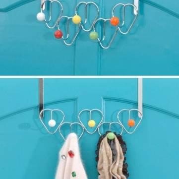 UR Bathroom 5 Hooks Chrome Multi Color Balls Over Door Hat Coat Storage Clothes Hanger Bathroom Towel Rack