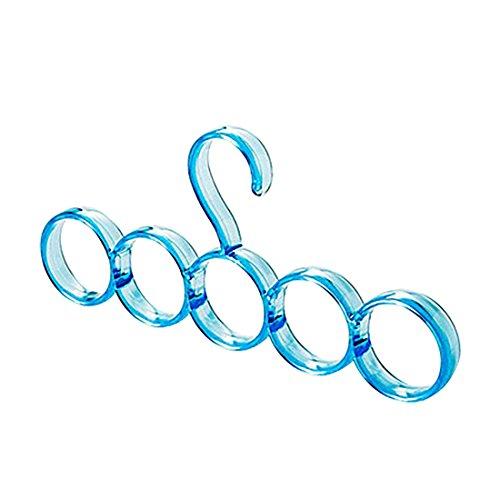 Plastic 5-Hole Ring Rope Slots Holder Hook Scarf Tie Wrap Shawl Storage Hanger - Blue