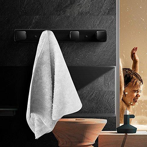 Coat Hook Rack Wall Mounted Hook Rail Robe Hanger Stainless Steel with 4 Heavy Duty Hooks Bathroom Kitchen Towel Holder Rubber Matte Black MARMOLUX ACC