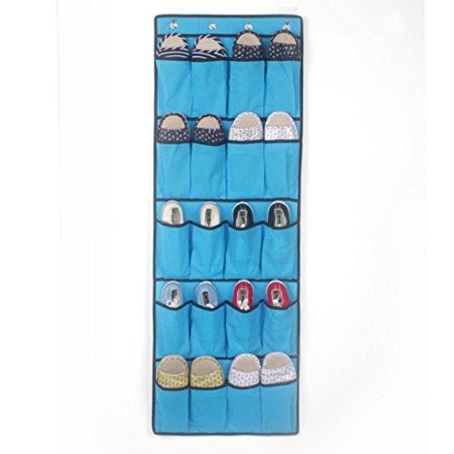 20 Pockets Hanging Over Door Shoe Organiser Storage Rack Bag Box Wardrobe Hook Blue