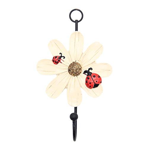 Mochiglory Home Decoration Cute Ladybug and Daisy Flower Resin Wall Hook Utility Wardrobe Hook