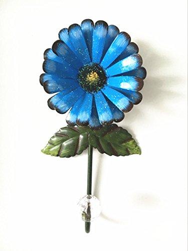 Vintage Iron with Fashion Crystal Diamond Sunflower Decorative Wall Hook Cut Key Hat Cloth Towel Bag Wall Hanger Wardrobe Hooks Blue