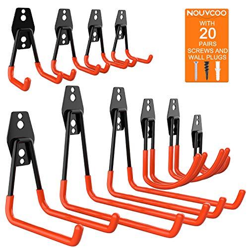NOUVCOO 10 Pcs Heavy Duty Garage Storage Utility Hooks Wall Mount Tool Holder Different Size Double U Hook with Anti-Slip Coating NC20
