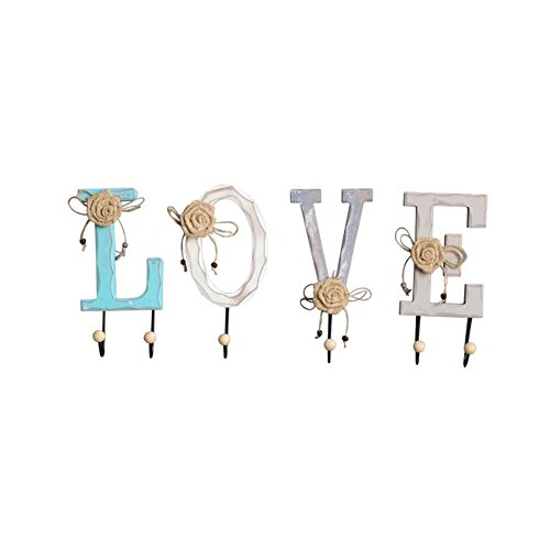 Aquarius CiCi Wooden Wall Hook Rail Set with Letters Spelling LOVE HOME