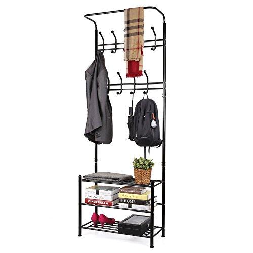 HOMFA Fashion Heavy Duty Garment Rack with Shelves 3-Tier Shoes RackCoat Rack HooksClothes Rack with Hanger Bar Black
