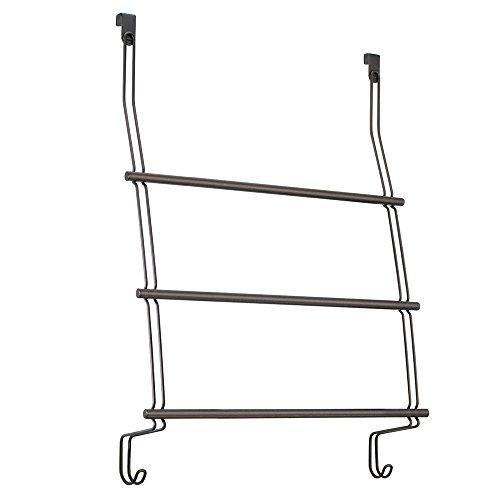 InterDesign Classico Over the Door Towel Rack with Hooks for Bathroom - Bronze