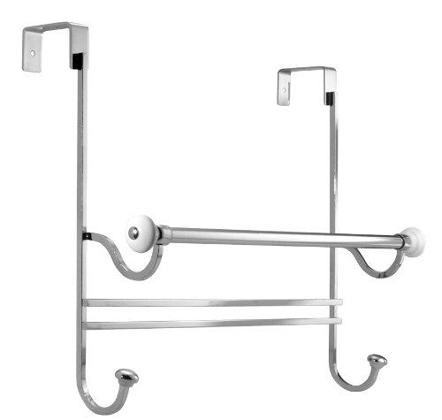 InterDesign York Over Shower Door Towel Bar Rack with Hooks for Bathroom - WhiteChrome